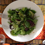 Salad with Nassir and Randa. Romaine, baby greens, olive oil, balsamic vinegar, sale & pepper.