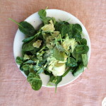baby spinach, mashed avocado, olive oil, salt, pepper