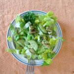 romaine, cucumber, salt, pepper, raw seeds