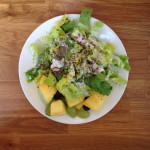 romaine, ras seeds, ranch dressing, leftover fruit salad