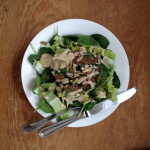 romaine, baby spinach, raw seeds, trader joe's goddess dressing
